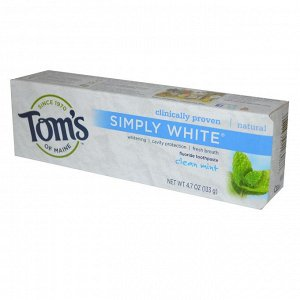 Tom&#x27 - s of Maine, Simply White, зубная паста с фтором, чистая мята, 133 г (4,7 унции)
