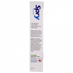 Xlear, Spry Toothpaste, Anti-Plaque Tartar Control, Fluoride Free, Natural Peppermint, 5 oz (141 g)