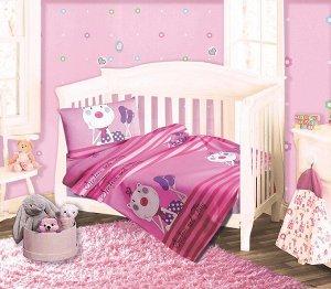 Детское постельное белье из трикотажа. Набор трикотаж РОЗОВЫЙ Набор в детскую кроватку из трикотажа
