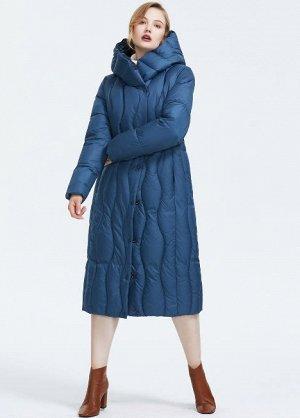Зимний женский пуховик с капюшоном, цвет синий