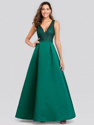Вечернее длинное изумрудное платье с V-образным вырезом и блестками