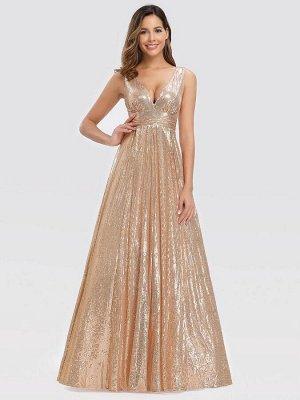 Вечернее длинное блестящее платье с V-образным вырезом без рукавов