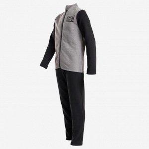 Тренировочный костюм теплый 100 для мальчиков гимнастич. серо-черный Warmy Zip DOMYOS