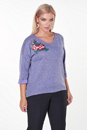 Блузка Люция №21.Цвет:фиолетовый/цветок