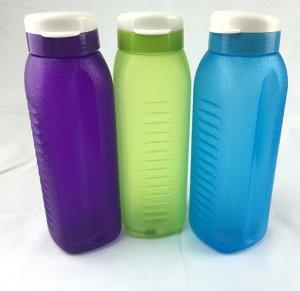 Бутылка с клапаном для воды 1л, пластик 1/90