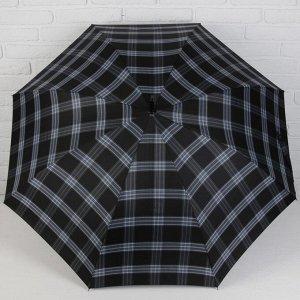 Зонт полуавтоматический «Крупная клетка», 8 спиц, R = 55 см, цвет чёрный