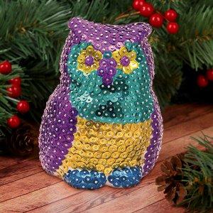 Набор для творчества. Игрушка пайетками «Сова» 14 х 6 х 6 см+ 4 цвета пайеток
