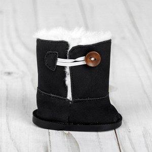 Сапоги для куклы «Пуговка», длина подошвы: 8 см, цвет чёрный