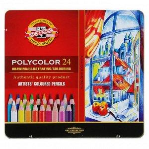 Карандаши художественные PolyColor 3824, 24 цвета, мягкие, в металлическом пенале