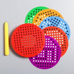 Планшет обучающий «Магнитное рисование», 120 отверстий, 5 карточек, СМЕШАРИКИ, МИКС