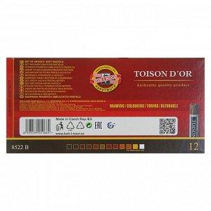 Пастель сухая художественная Soft Koh-I-Noor TOISON D`OR 8522, 12 цветов, градация коричневого