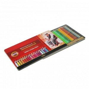 Карандаши акварельные набор 36 цветов, Koh-I-Noor Mondeluz 3725, в металлическом пенале