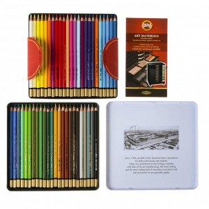 Карандаши акварельные набор 48 цветов, Koh-I-Noor Mondeluz 3726, в металлическом пенале