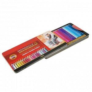 Карандаши акварельные набор 72 цвета, Koh-I-Noor Mondeluz 3727, в металлическом пенале