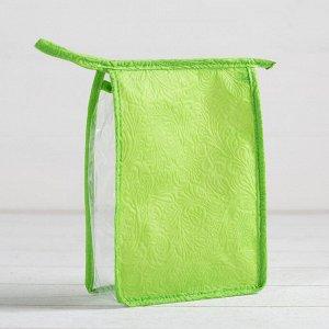 Косметичка ПВХ, отдел на молнии, цвет зелёный