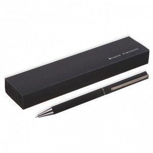 Ручка шариковая поворотная BrunoVisconti. Bergamo, узел 1.0 мм, синий стержень, чёрный корпус + футляр