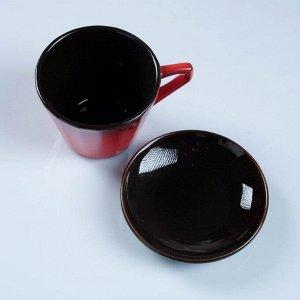 """Чашка """"Ностальгия"""" №2 с блюдцем красный 0,2 л"""