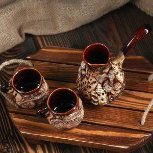 "Кофейный набор  ""Замки"", 3 предмета, турка 0.2 л, 2 чашки 0.1л"