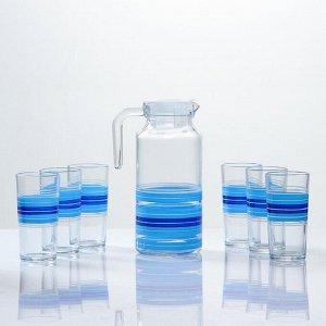 """Набор для сока """"Бриз"""" художественная роспись, 6 стаканов 1250/200 мл"""