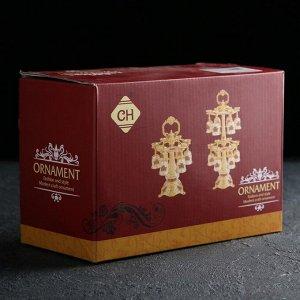Набор питьевой на подставке «Марена»: 6 рюмок 30 мл, цвет золотой