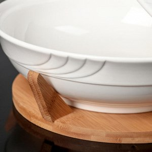 Блюдо с крышкой «Эстет», d=25 см, на деревянной подставке