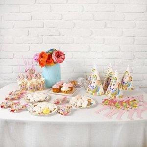 Набор для праздника «Единорог», 6 стаканов, 6 трубочек, 6 язычков, 6 тарелок, 6 колпаков, 6 очков