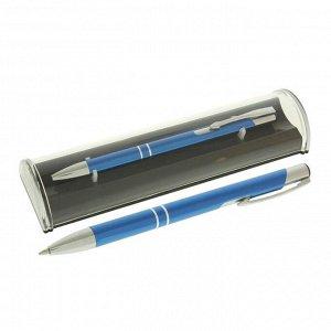Ручка шариковая подарочная в пластиковом футляре автоматическая NEW Стиль синяя