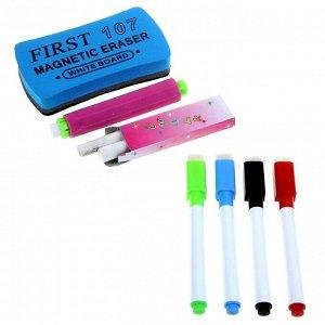 Маркеры цветные на водной основе со стиралкой 4 шт, мел 2 шт, держатель для мела, стиралка