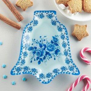Блюдо сервировочное Доляна «Колокольчик. Синева роз», 18?17?1,5 см
