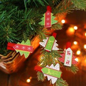 """Набор новогоднего декора на прищепке, 6 шт. """"Ёлочки"""""""
