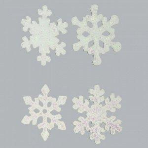 """Наклейки на стекло """"Блестящие снежинки"""" (набор 4 шт.)"""