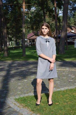 Платье Платье AMORI  9407  Состав ткани: Вискоза-36%; ПЭ-61%; Эластан-3%;  Милое скромное платье из натуральной приятной костюмной ткани со съёмной эффектной брошью у горловины. Застёжка на тесьму-мо