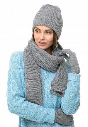 Шарф серый Вес: 160 гр.. Вязаный шарф – необходимый аксессуар в прохладную погоду, защитит от холода и ветра. С люрексом. Размер: 185 x 20 см.
