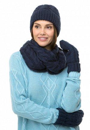 Снуд синий Вес: 200 гр.. Вязаная снуд с косами – стильный аксессуар, который идет всем без исключения. Он пригодится в прохладную погоду, когда хочется укутаться во что-нибудь уютное.Размер: 27 x 70 с