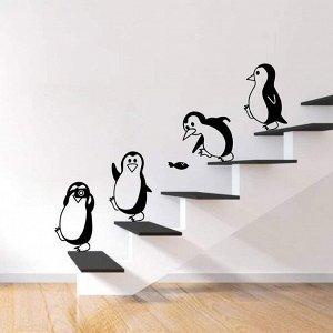 """Наклейка """"4 пингвина"""" черно-белая виниловая самоклеящаяся"""