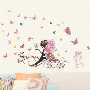 """Наклейка """"Цветочная фея с бабочками"""" виниловая самоклеящаяся"""