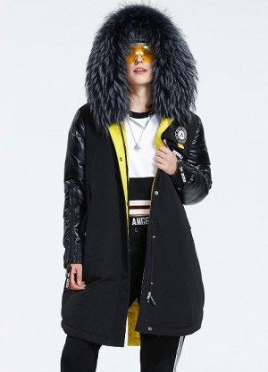 ХИТ ПРОДАЖ. Зимний женский парка-пуховик с капюшоном, цвет черный