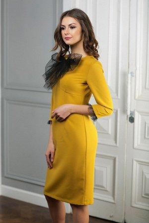Платье цвет горчица с бантом