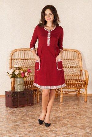 Пл-10 В ассортименте :Бордовый, хлопок 100% .Платье с рукавом 7/8 с отделкой, длина изделия по спинке 97см в 46р.