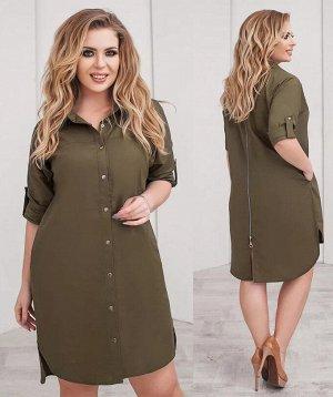 Платье-рубашка, цвет: болотный