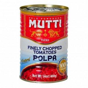 Томаты Polpa Mutti резаные кубиками в томатном соке с базиликом (Италия), 400 г