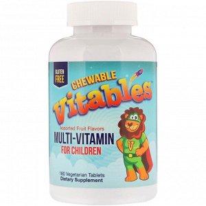 Vitables, Мультивитамин для детей, ассорти из фруктовых вкусов, 180 вегетарианских таблеток