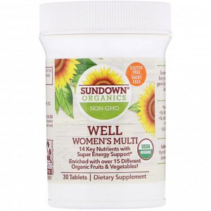 Sundown Organics, Well Women&#x27 - s Multivitamin, Once Daily, 30 Tablets