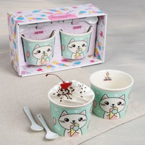 """Набор """"Котик"""", пиала для мороженого 2 шт., ложка 2 шт., 22 х 13 см"""