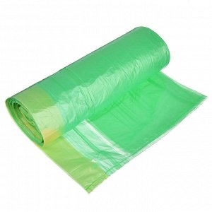Мешки для мусора с завязками 35л, 15шт, 10 микрон, зелёные