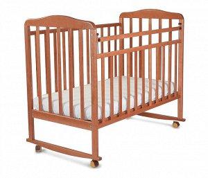 Кровать детская Митенька (опуск.планка ,колеса, качалка, орех) 160117