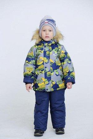 Серый-т.синий Комбинезон детский для мальчика (куртка; полукомбинезон; варежки