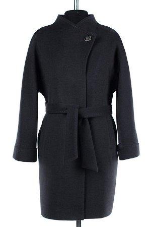 01-07207 Пальто женское демисезонное(пояс) Пальтовая ткань темно-серый