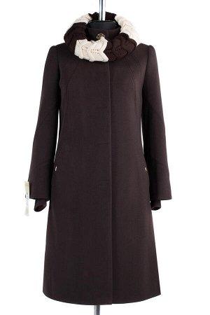 01-8031 Пальто женское демисезонное Кашемир Темно-коричневый