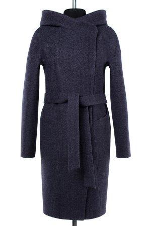 01-07460 Пальто женское демисезонное(пояс) валяная шерсть темно-серый
